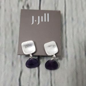 NWT J. JILL PURPLE DROP SEMI PRECIOUS EARRINGS